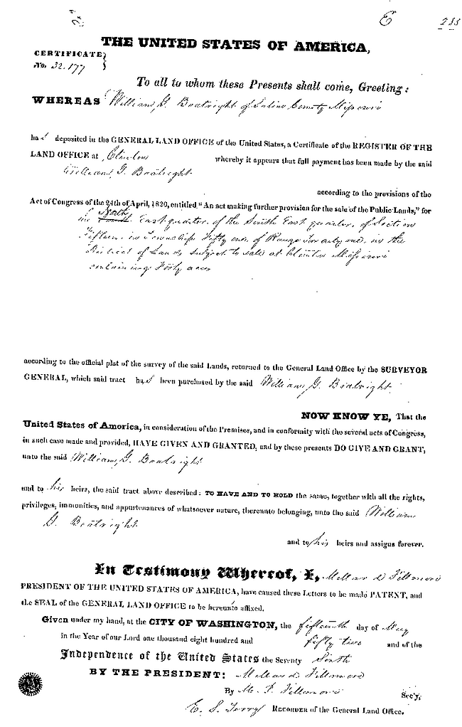 William Greene Boatright Land Office Record 1852: