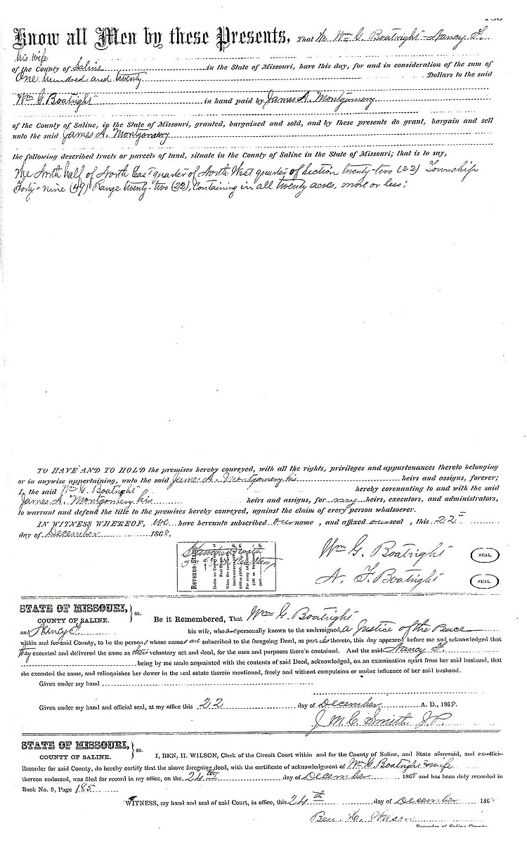 William Greene Boatright Land Sale 1868: