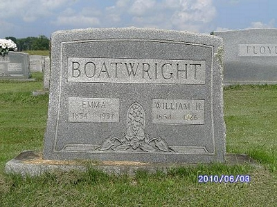 William H. and Sarah Emerline Shadrock Boatwright Gravestone