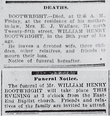 William Henry Bootwright Obit