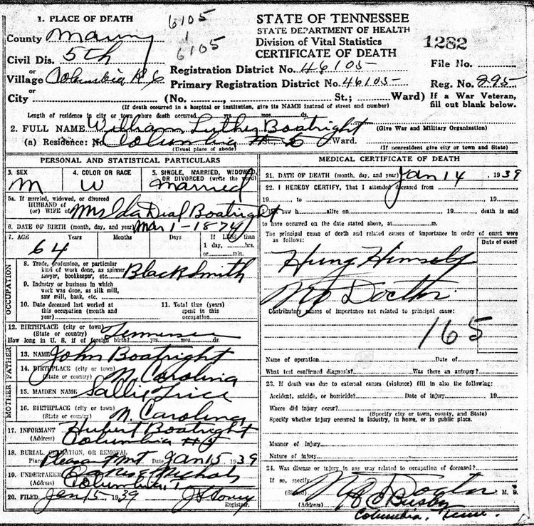 William Luther Boatright Death Certificate: