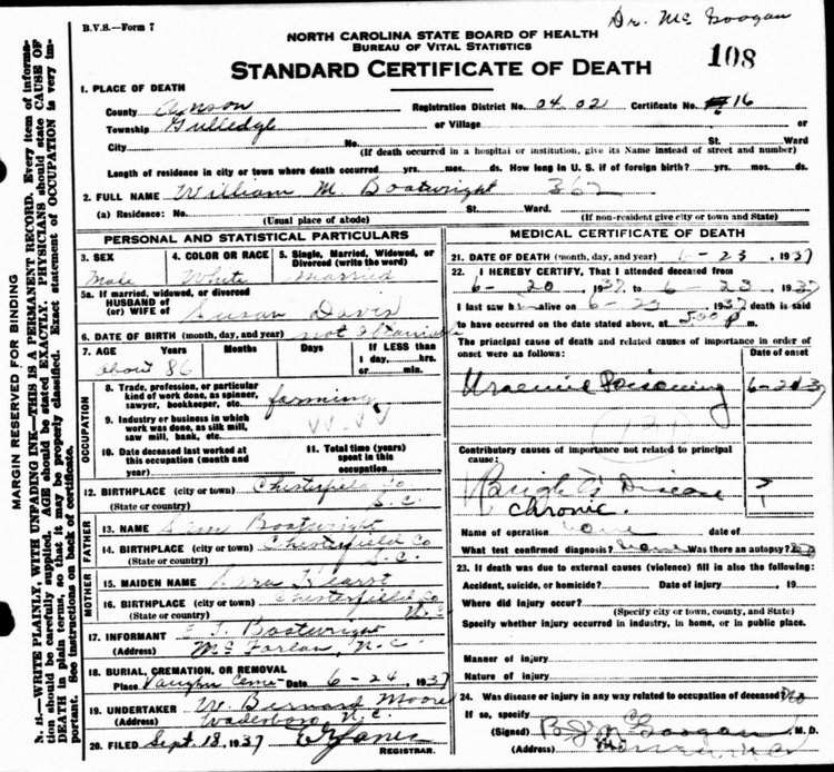William Manly Boatwright Death Certificate: