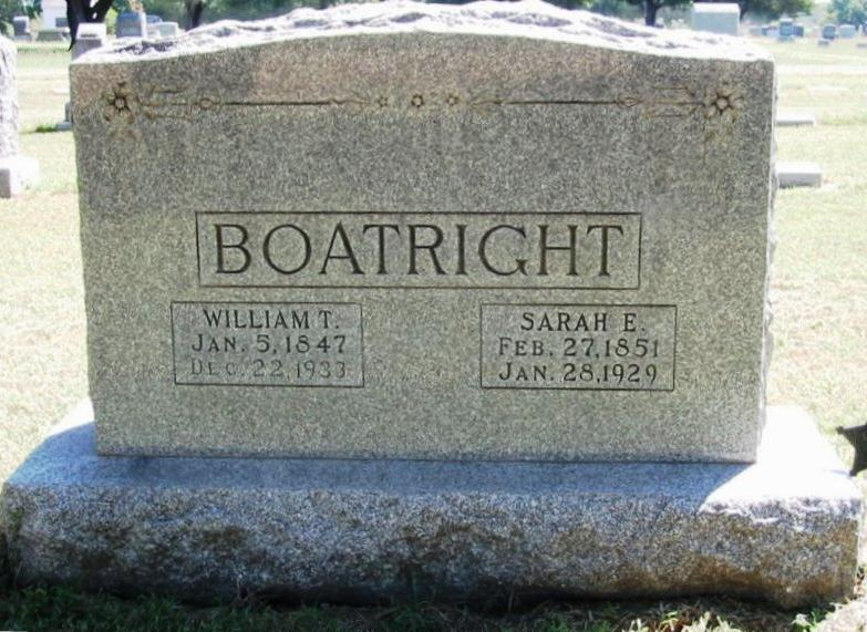 William Taylor Boatright and Sarah Ellen Burger Gravestone